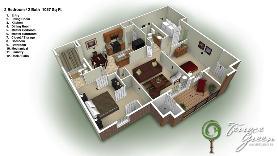 Superior 2 Bedroom / 2 Bath   1057 Sq. Ft.   From $750/month