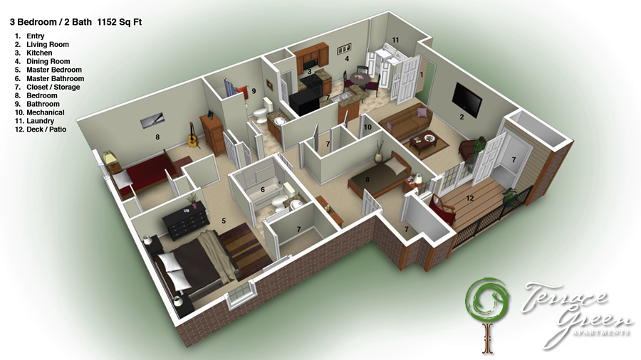 3 Bedroom / 2 Bath - 1152 Sq. Ft. - From $850/month